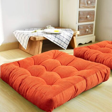 """main image of """"Floor Pillow, Square Tufted Seat Cushion Thicken Corduroy Meditation Pillow Tatami Floor Cushion for Yoga Living Room Balcony Office Outdoor, orange, 22x22 Inch"""""""