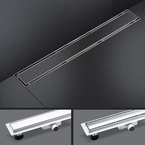Floor Shower Drain in Stainless Steel 100cm with 2 in 1 Panels
