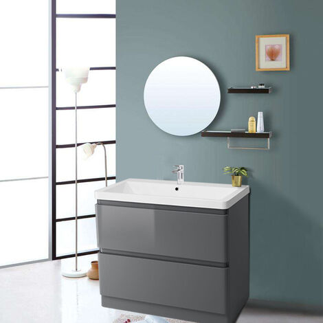 Floor Standing 2 Drawer Vanity Unit Basin Storage Bathroom Furniture 800mm Gloss Grey