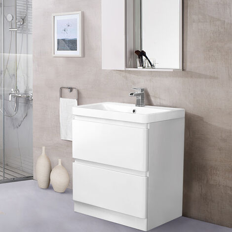Floor Standing 2 Drawer Vanity Unit Basin Storage Bathroom Furniture 800mm Gloss White