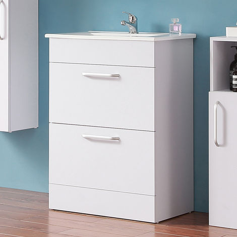 Floor Standing 600mm Bathroom Vanity Unit with Sink White -2 Drawers