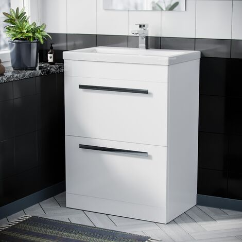 Floor Standing Cabinet 2 Drawer 600mm Vanity Unit with Ceramic Sink Basin Gloss White