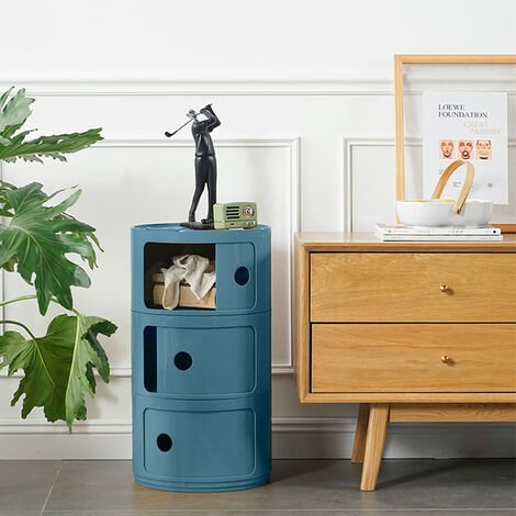 Floor Standing Compact Round Storage Unit 3 Drawer Cabinet Side Table Royal Blue