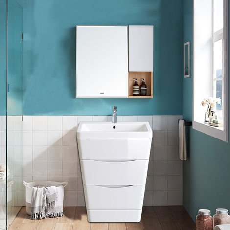 Floor Standing Drawer Vanity Unit Basin Bathroom Storage Furniture 600mm Gloss White