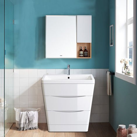 Floor Standing Drawer Vanity Unit Basin Bathroom Storage Furniture 800mm Gloss White