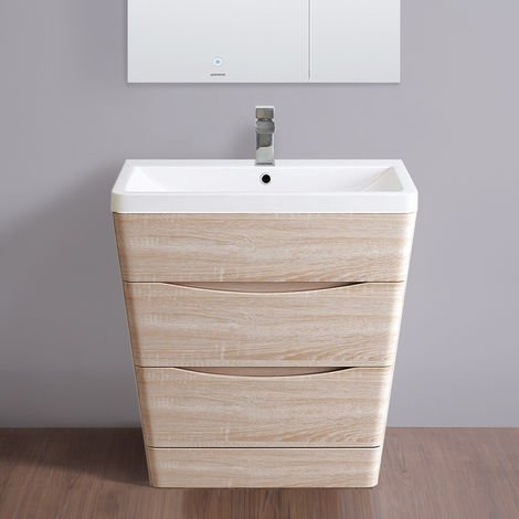 Floor Standing Drawer Vanity Unit Basin Bathroom Storage Furniture 800mm Light Oak Effect