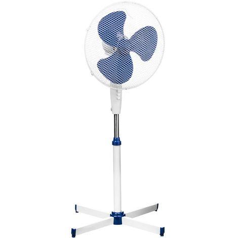 Floor Standing Fan, 3 Speeds/Oscillation, White/Blue/Height Adjustable