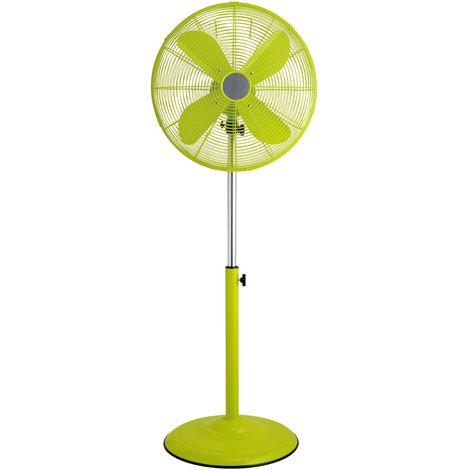 Floor standing fan,3 speeds/oscillation, lime green/height adjustable