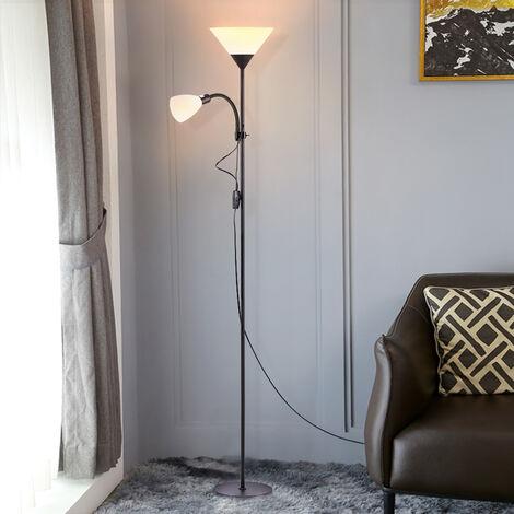 Floor Standing Reading Light Night Tall Lamp Uplighter Multi Purpose,Paint Black