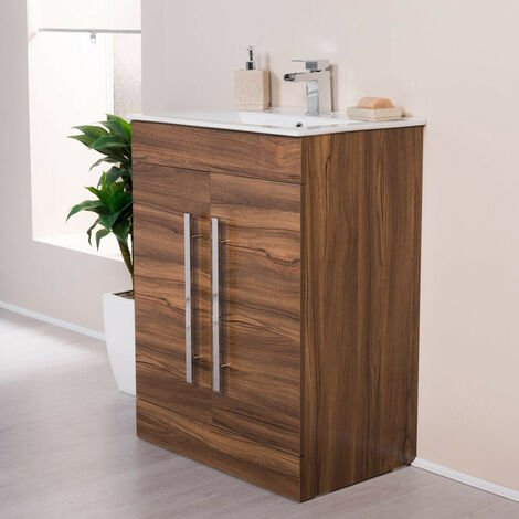 Floor Standing Vanity Sink Unit Basin Bathroom Door Storage Furniture 600 mm Walnut