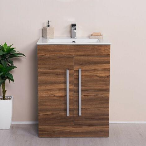 Floor Standing Vanity Sink Unit Basin Bathroom Door Storage Furniture 600 mm Walnut