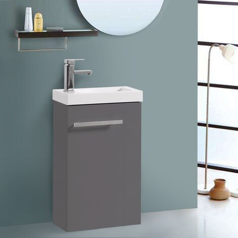 Floor Standing Vanity Sink Unit Bathroom Basin Cabinet Furniture Gloss Grey 440mm