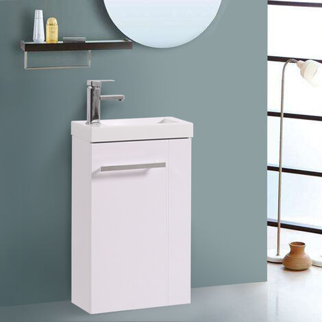 Floor Standing Vanity Sink Unit Bathroom Basin Cabinet Furniture Gloss White 440mm