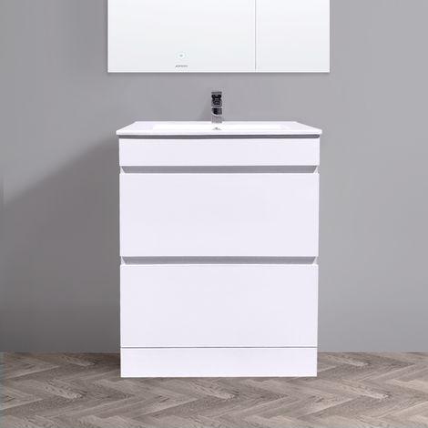 Floor Standing Vanity Sink Unit Ceramic Basin Bathroom 2 Drawer Storage Furniture