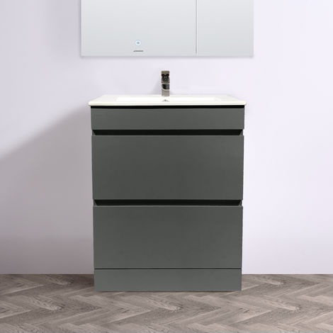 Floor Standing Vanity Sink Unit Ceramic Basin Bathroom 2 Drawer Storage Furniture