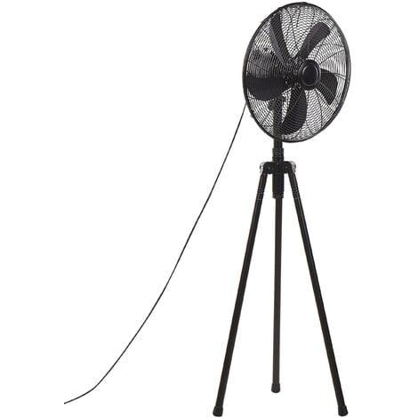 Floor Tripod Fan Metal Living Room Adjustable Height Modern 3 Modes Black Tweed