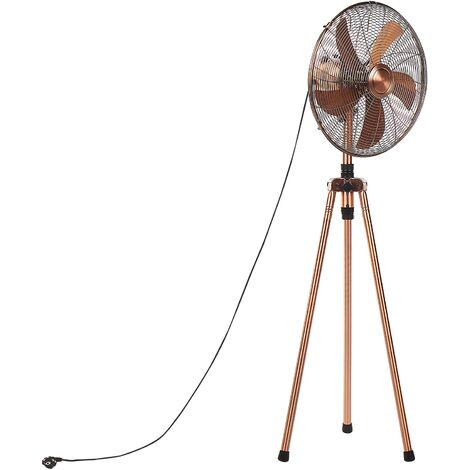 Floor Tripod Fan Metal Living Room Adjustable Height Modern 3 Modes Copper Tweed