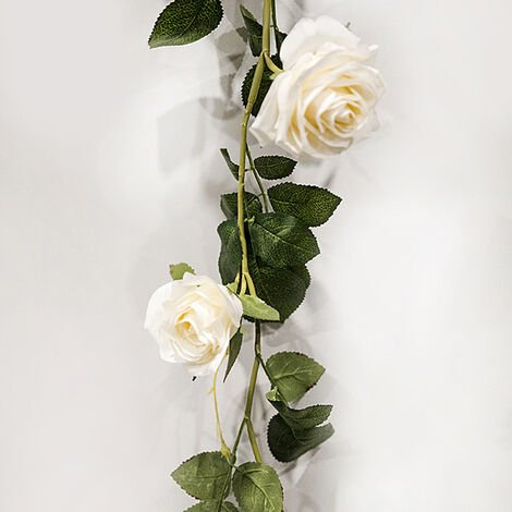 flor artificial de mimbre rosa, 1.8M, blanco