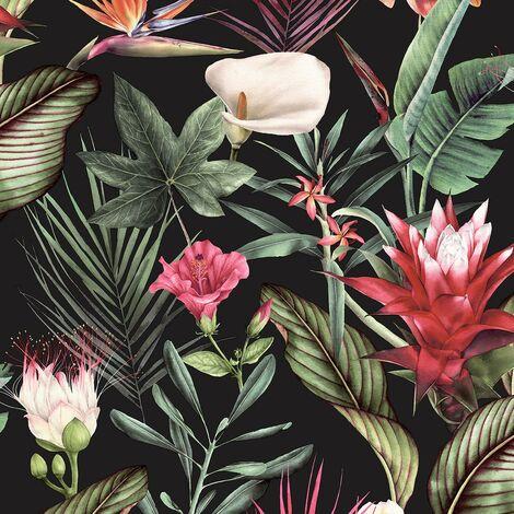 Flora Black Wallpaper Debona Floral Tropical Jungle Orange Green Natural