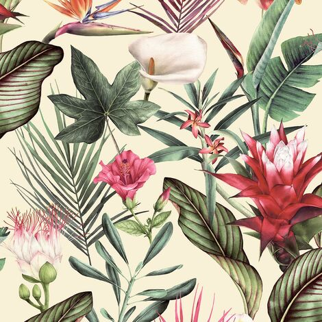 "main image of ""Flora Cream Wallpaper Debona Floral Tropical Jungle Red Green Natural"""