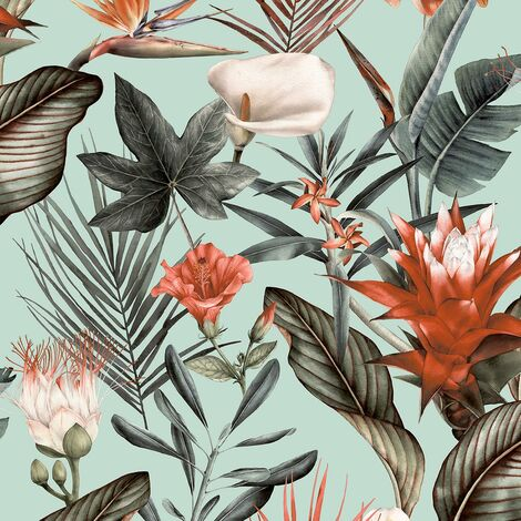 Flora Duck Egg Wallpaper Debona Floral Tropical Jungle Orange Green Natural