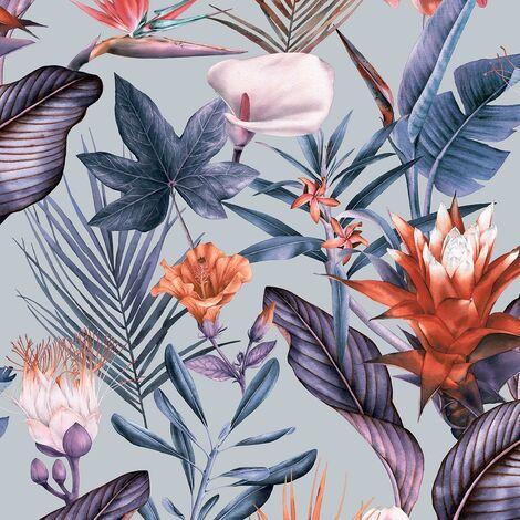 Flora Silver Wallpaper Debona Floral Tropical Jungle Lilac Purple Natural