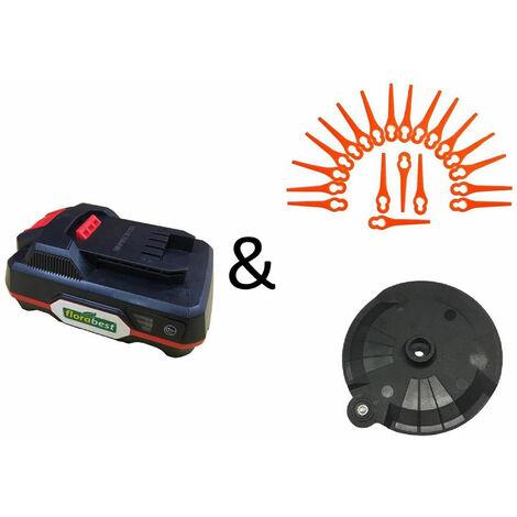 Florabest Kit économique : 20 plaquettes de coupe + un disque de coupe + une batterie FAP 20 A1 pour coupe-bordure sans fil modèle FRTA 20 A1 de la marque Florabest