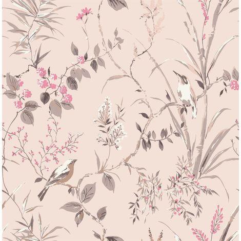 Floral Birds Wallpaper Blush Fuchsia Metallic Flower Shimmer Fine Decor Mariko
