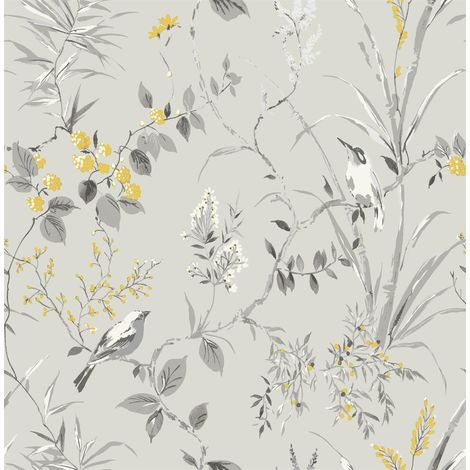 Floral Birds Wallpaper Grey Yellow Metallic Flower Shimmer Fine Decor Mariko