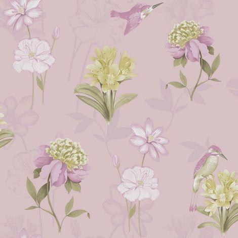 Floral Birds Wallpaper Kingfisher Animal Print Flower Dusty Pink Holden Decor