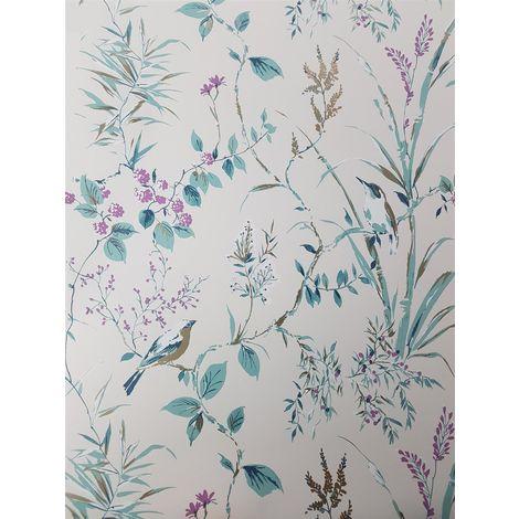 Floral Birds Wallpaper Teal Plum Gold Metallic Flower Shimmer Fine Decor Mariko