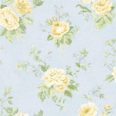 Floral Blue Wallpaper English Yellow Rose Floral Country Wall Covering