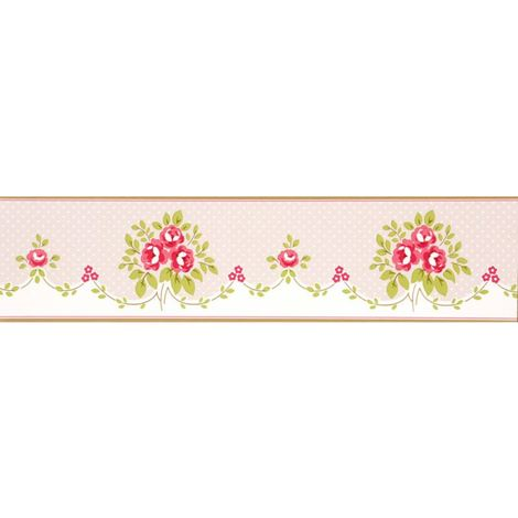 Floral Bouquet Wallpaper Border Pink Flowers Dotty Green Cream Boutique Luxury