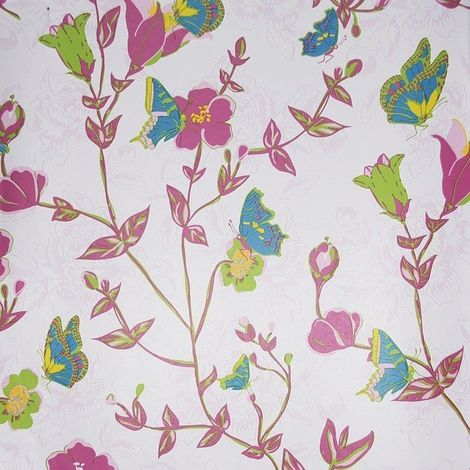 Floral Butterfly Wallpaper Pink Green Blue Yellow Vintage Chic Paste The Wall