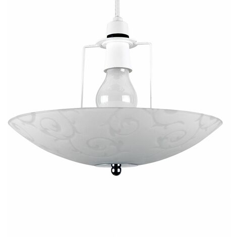Floral Chrome & Frosted Glass Scroll Pendant Ceiling Uplighter Shade