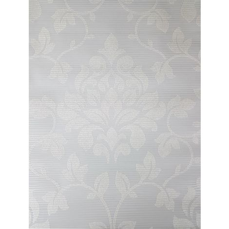 Floral Damask Glitter Wallpaper Grey Stripe Embossed Metallic Shimmer Grandeco
