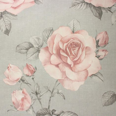 Floral Flower Roses Wallpaper Pink Grey Hessian Linen Effect Textured Belgravia