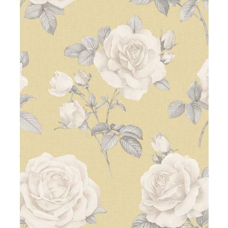 Floral Flower Roses Wallpaper Yellow Grey Beige Hessian Linen Effect Textured