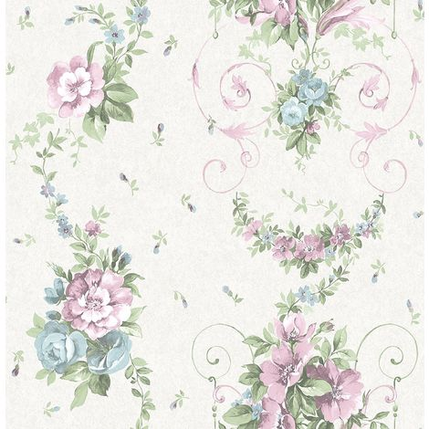 Floral Flower Wallpaper Rose Lilac Blue Green Cream Metallic Mica Shimmer