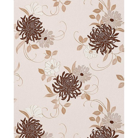 Floral flower wallpaper wall EDEM 824-23 deep embossed heavyweight beige chocolate brown cream silver-grey 75 sq ft