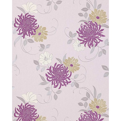 Floral flower wallpaper wall EDEM 824-25 deep embossed heavyweight light ivory lilac green-beige grey white 75 sq feet