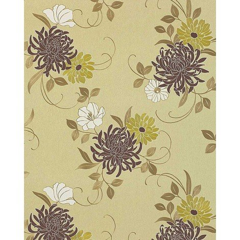 Floral flower wallpaper wall EDEM 824-28 deep embossed heavyweight ivory brown green bronze white 75 sq feet
