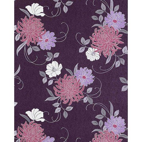 Floral flower wallpaper wall EDEM 824-29 deep embossed heavyweight violet syringa lilac grey white 75 sq feet