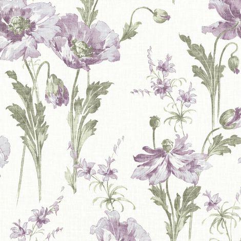 Floral Garden Wallpaper Purple Flowers Vintage Watercolour Linen Gold Shimmer