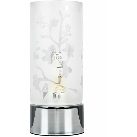Floral Glass & Touch Table Lamp + 3W LED Dimmable G9 Bulb