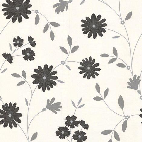 Floral Glitter Wallpaper Black Grey White Shimmer Flowers Vinyl Superfresco