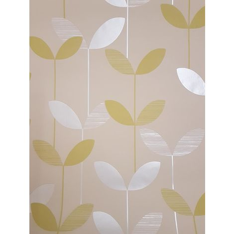 Floral Green Beige Leaf Wallpaper Paste The Wall Pearlescent Textured Flower