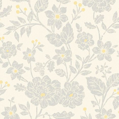 Floral Leaf Acorn Berry Trail Wallpaper Yellow Grey Off White Crown Alexandra