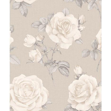 Floral Linen Effect Wallpaper Roses Flowers Beige Cream Textured Belgravia Decor