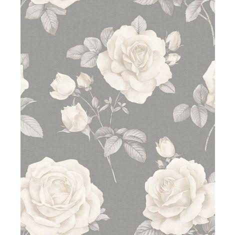 Floral Linen Effect Wallpaper Roses Flowers Grey Cream Textured Belgravia Decor